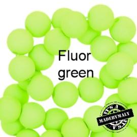 Mat acryl kralen rond 6mm Fluor green, 40 stuks