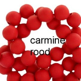 Mat acryl kralen rond 6mm Carmine rood, 40 stuks