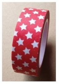 Washi tape red with white stars - LMT * 029677