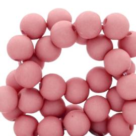Mat acryl kralen rond 6mm lantana roze, 40 stuks