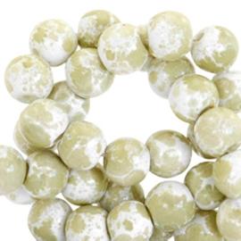 Glaskralen 8 mm gemêleerd White-olive green, 30 stuks