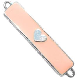 Metalen bedel met hartje zilver perzik 42 mm x 8 mm