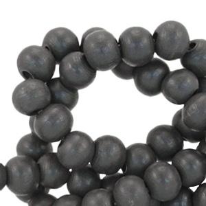 Houten kralen 8 mm rond dark antrachite grijs