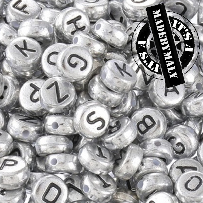 alfabetkralen zilverkleur, per stuk