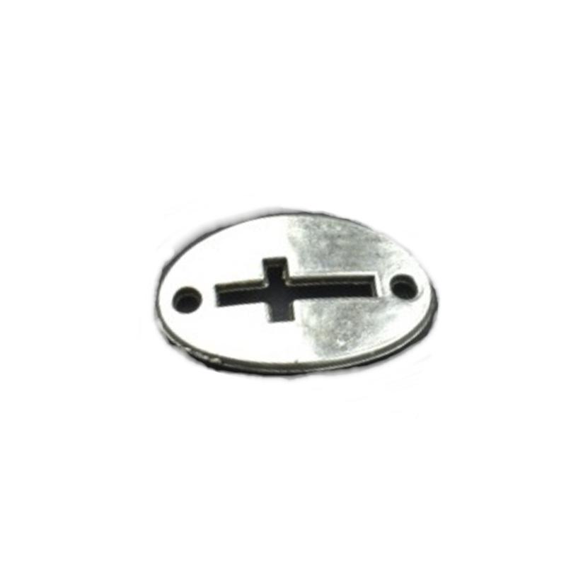 Tibetaans zilveren tussenstuk met twee ogen - kruis