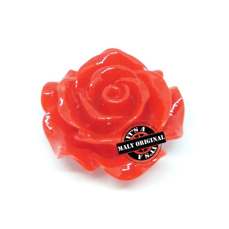 Roos bloem kraal 28 mm rood
