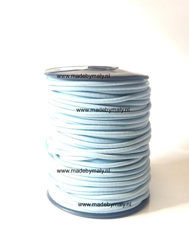 Koord elastiek 3 mm. lichtblauw, per meter - elastisch koord