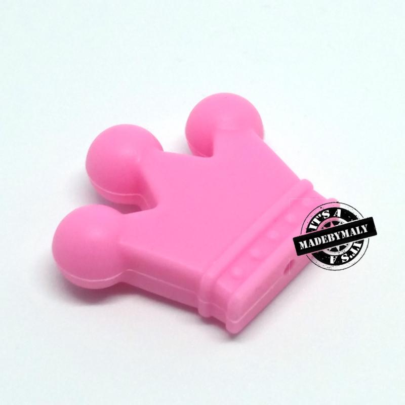 Siliconen kroon roze 3 cm. hoog
