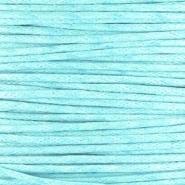Waxkoord aqua blauw 1 mm. dik, per meter