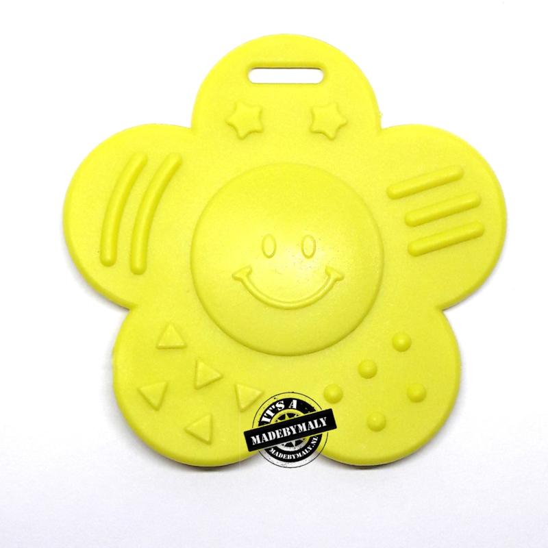 Bijtring bloem lyme geel * kindveilig * 68x57mm