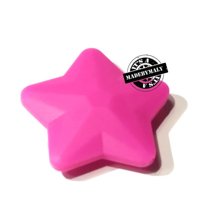 Siliconen ster donkerroze  40 mm. groot, per stuk
