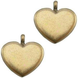 Stainless steel bedels hart antiek brons
