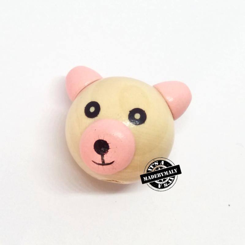Houten kraal beer houtkleur en roze