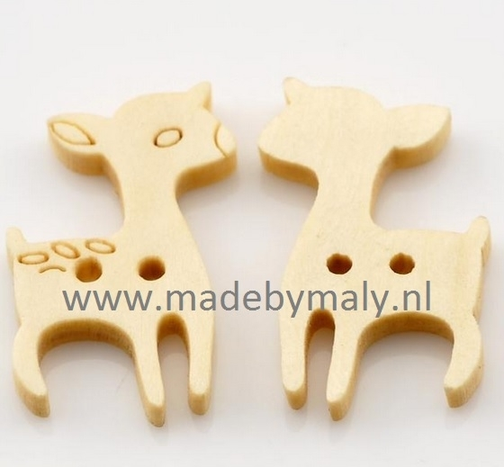 5x houten knoop hertje, 2,5 cm hoog