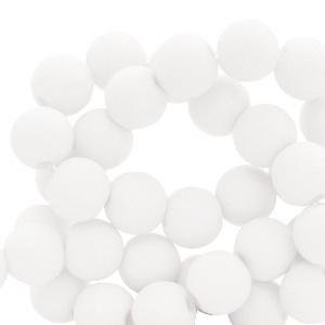 Mat acryl kralen rond 6mm wit, 40 stuks