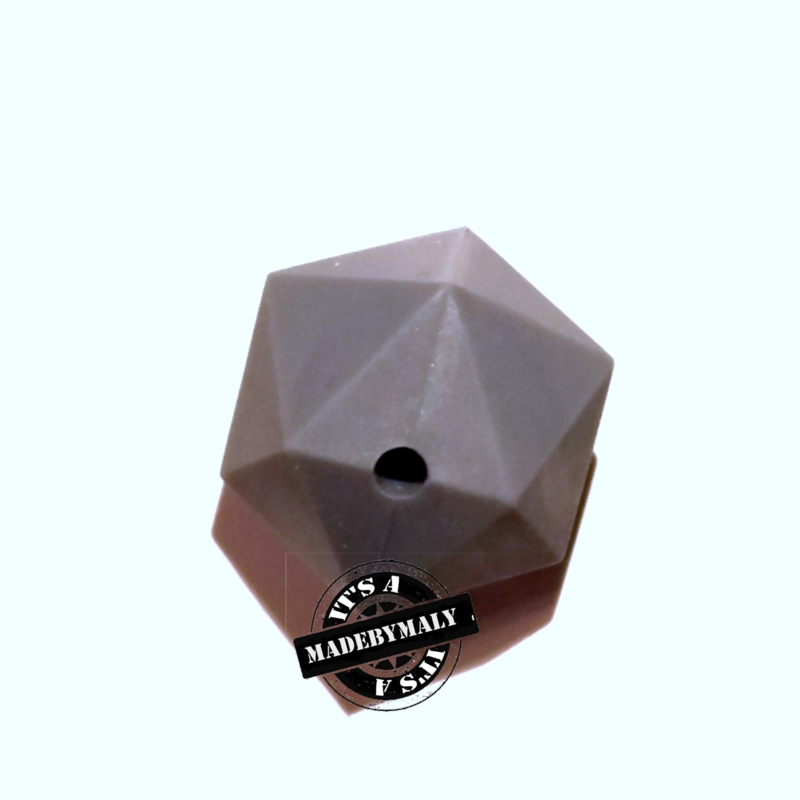 Siliconen hexagon facet kraal 17 mm, donkergrijs