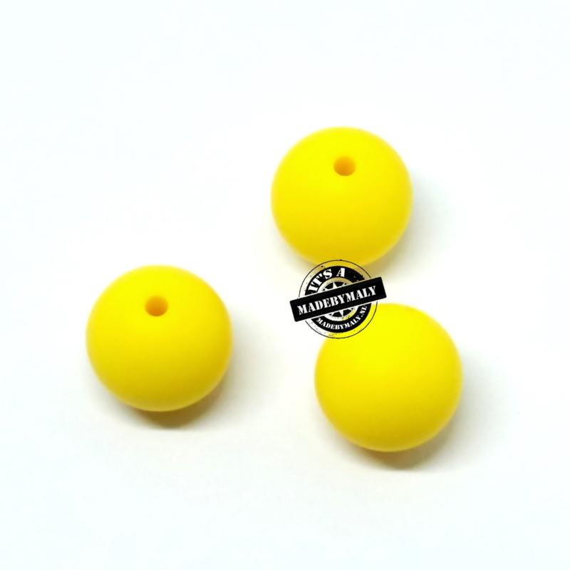 Siliconen kraal 12 mm. groot, geel, per stuk