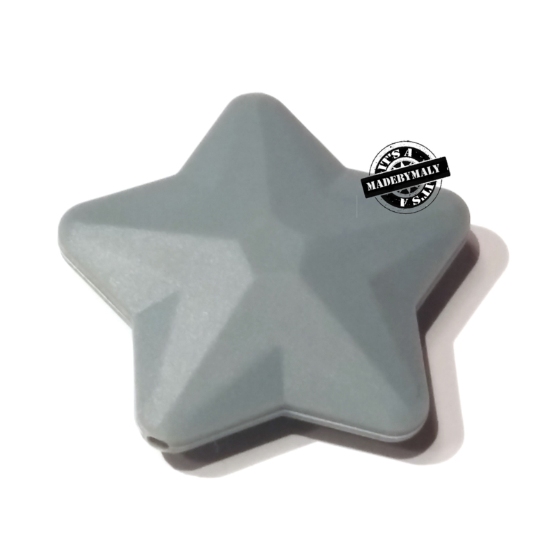 Siliconen ster  donkergrijs  40 mm. groot, per stuk