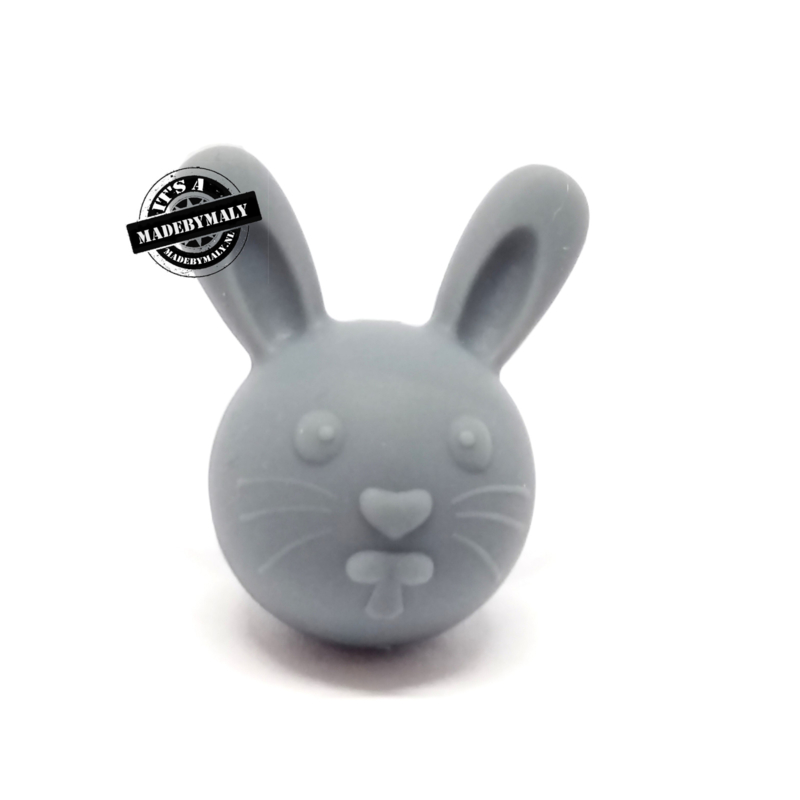Siliconen kraal konijn donkergrijs 30 mm hoog, per stuk