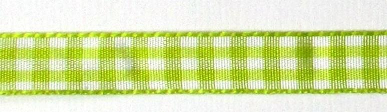 1 meter geruite band lime-wit