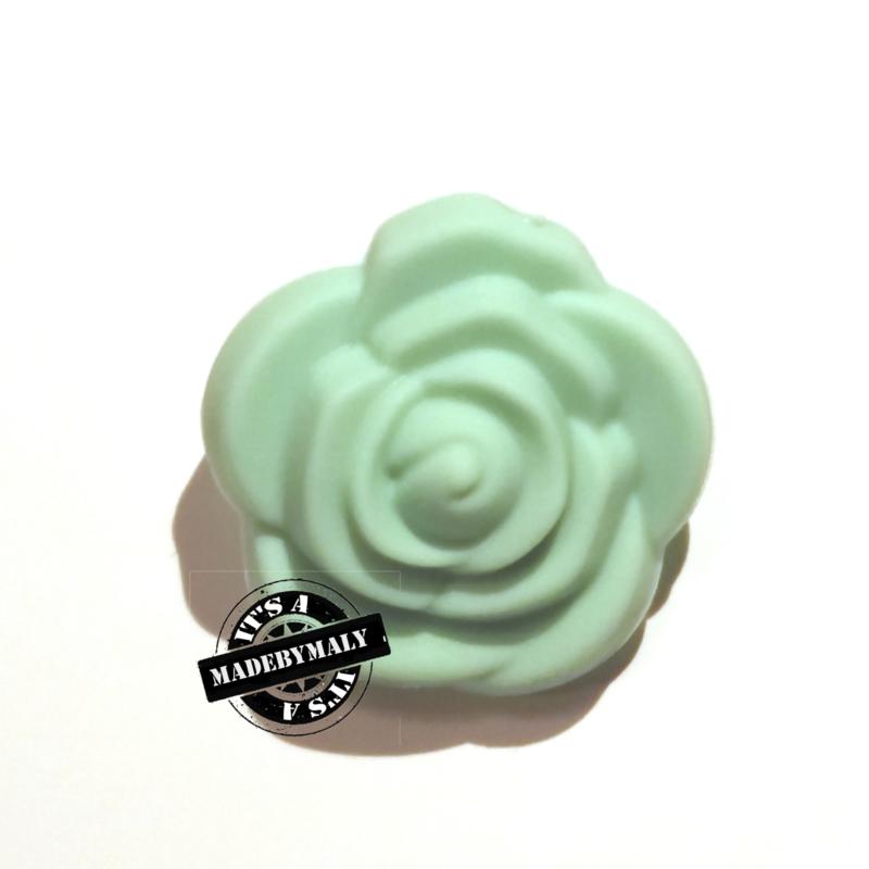 Siliconen bloem kraal 20mm, mint