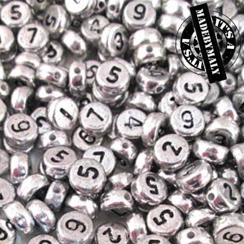 Cijferkralen zilverkleur, per stuk, vintage uitstraling