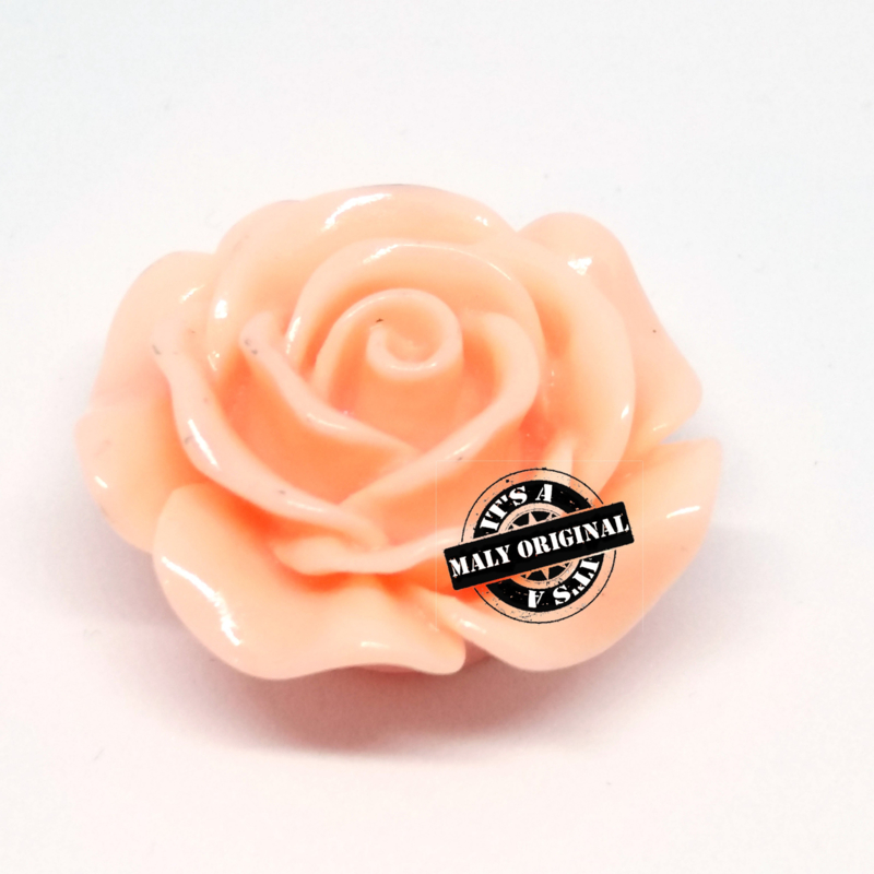 Roos bloem kraal 28 mm perzik