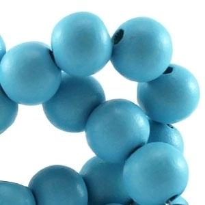 Houten kraal 12 mm rond Licht aqua blauw