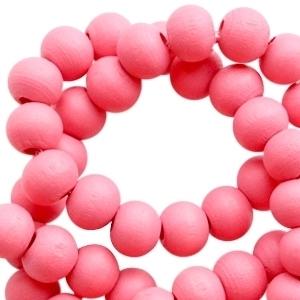 Houten kralen 8 mm rond Flamingo Pink roze
