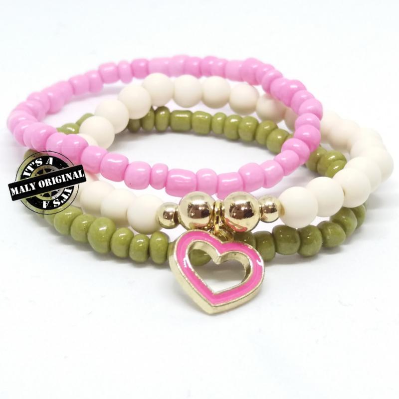 armband set met donkerroze hartjes bedel (kies zelf je kleur)