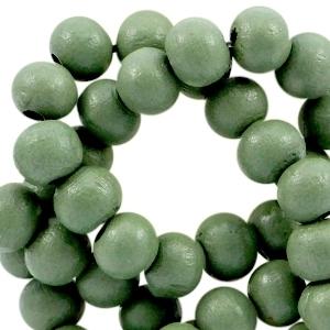 Houten kralen 8 mm rond Lilly pad groen