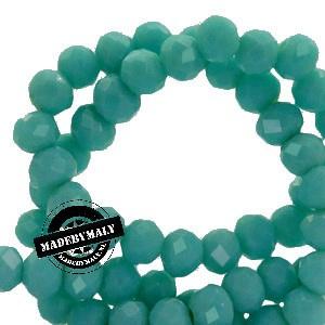 Facet kralen top quality disc 6x4mm - turquoise aqua