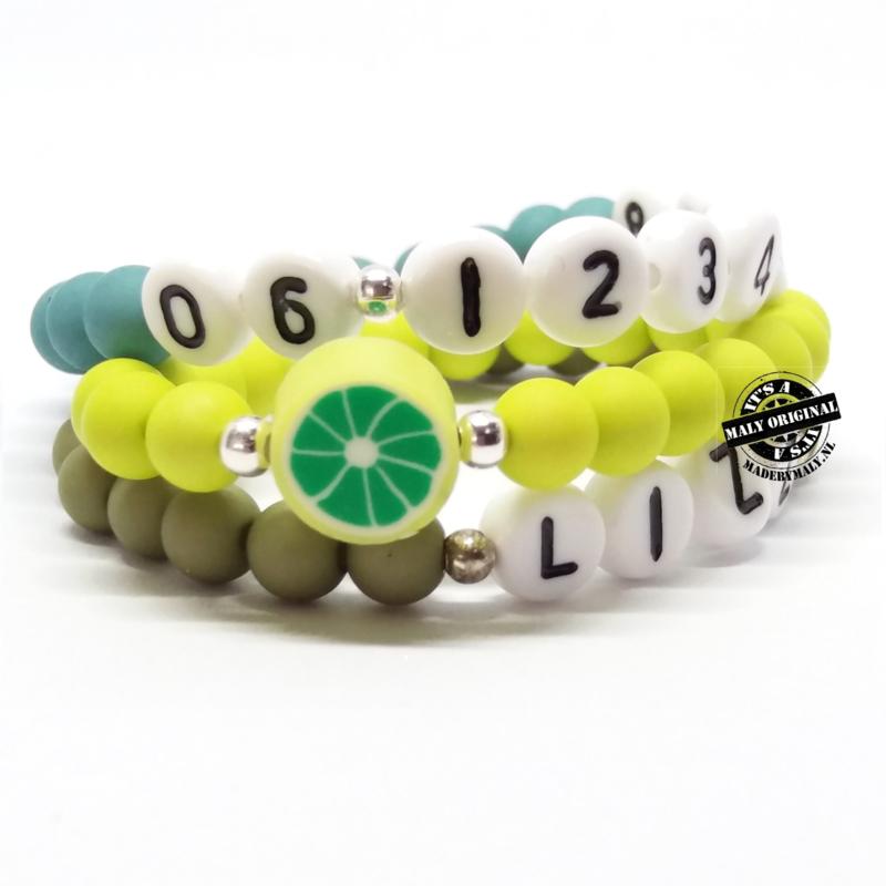 Prachtige telefoonnummer armband, naam armband  en kiwifruit armbandenset  (3 armbanden)  Kies zelf je kleuren