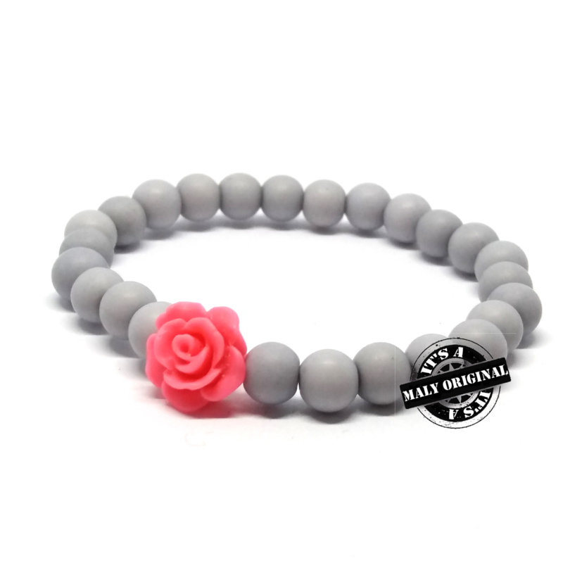 Armband  met bloem mix and match (kies zelf je kleuren)