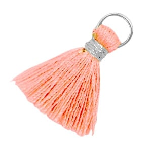 Ibiza style kwastje 2cm Zilver-Rose Peach