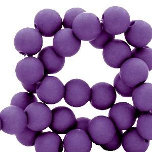 Mat acryl kralen rond 6mm paars, 40 stuks