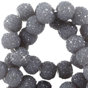 Sparkle sparkling beads 8 mm donkergrijs, 10 stuks