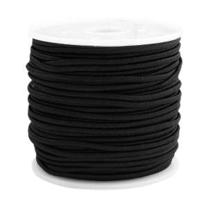 Koord elastiek 1,5 mm. zwart, per meter - elastisch koord