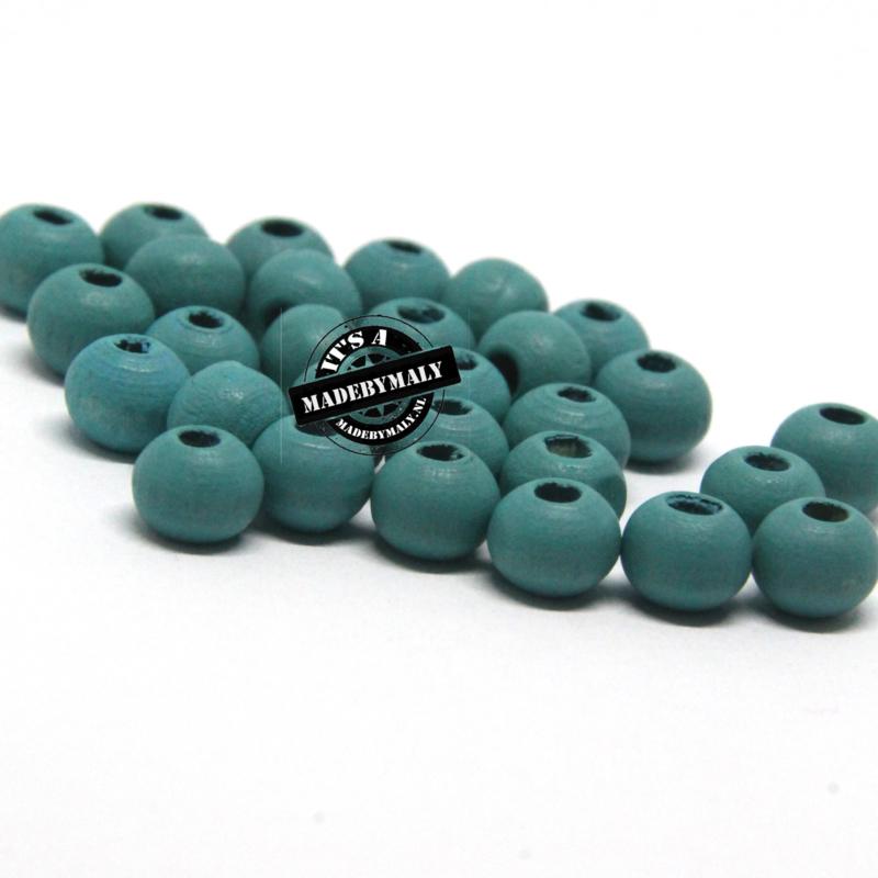 Houten kraal 6 mm rond diep groenblauw