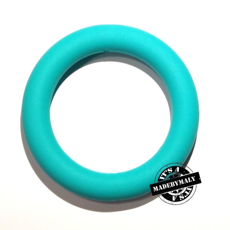 Siliconen bijtring  65 mm. groot, per stuk, turquoise