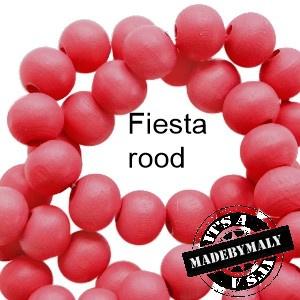 Houten kraal 6 mm rond Fiesta rood