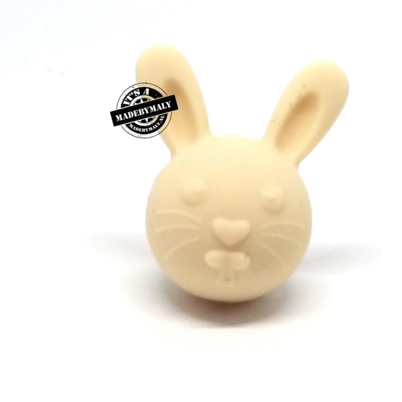 Siliconen kraal konijn creme 30 mm hoog, per stuk