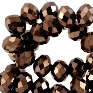 Facet kralen top quality disc 4x3mm Copper brown metallic