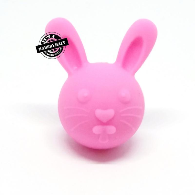 Siliconen kraal konijn roze , per stuk