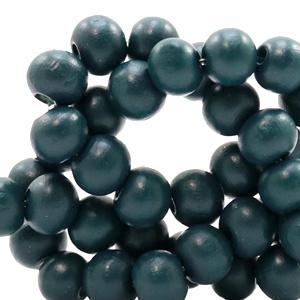 Houten kraal 12 mm Donker petrol blauw