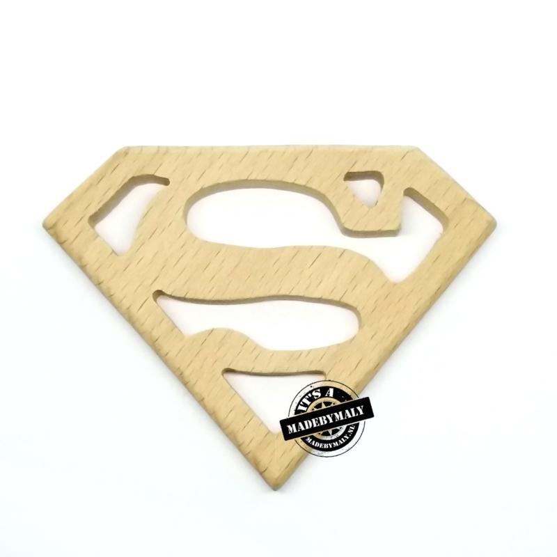 Houten bijtring hout  superman  * 8x6,2 cm.