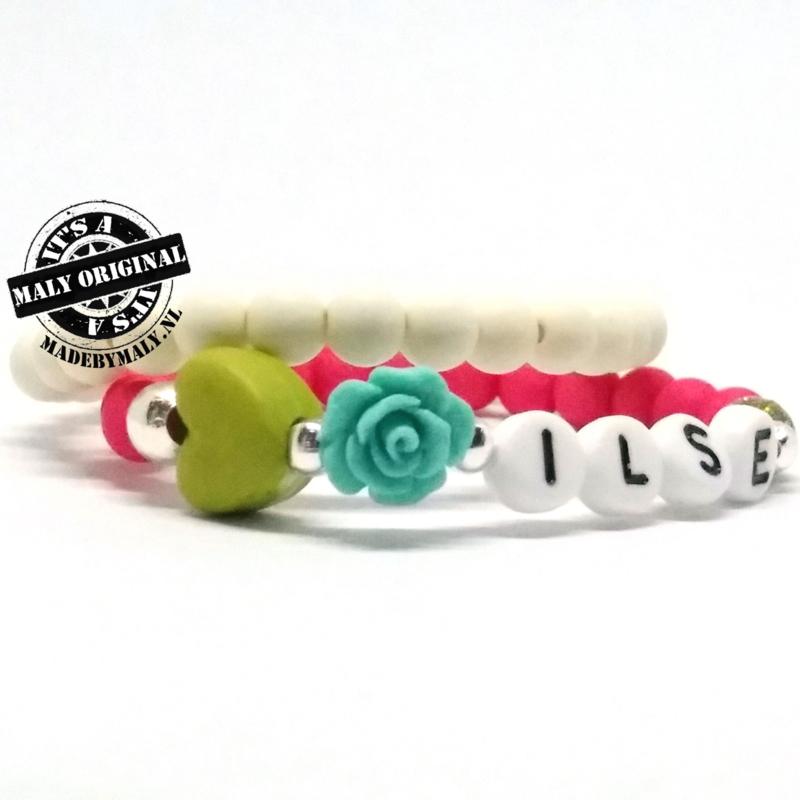 Kinderarmband met bloem en hart en uni armband. Kies zelf je kleuren