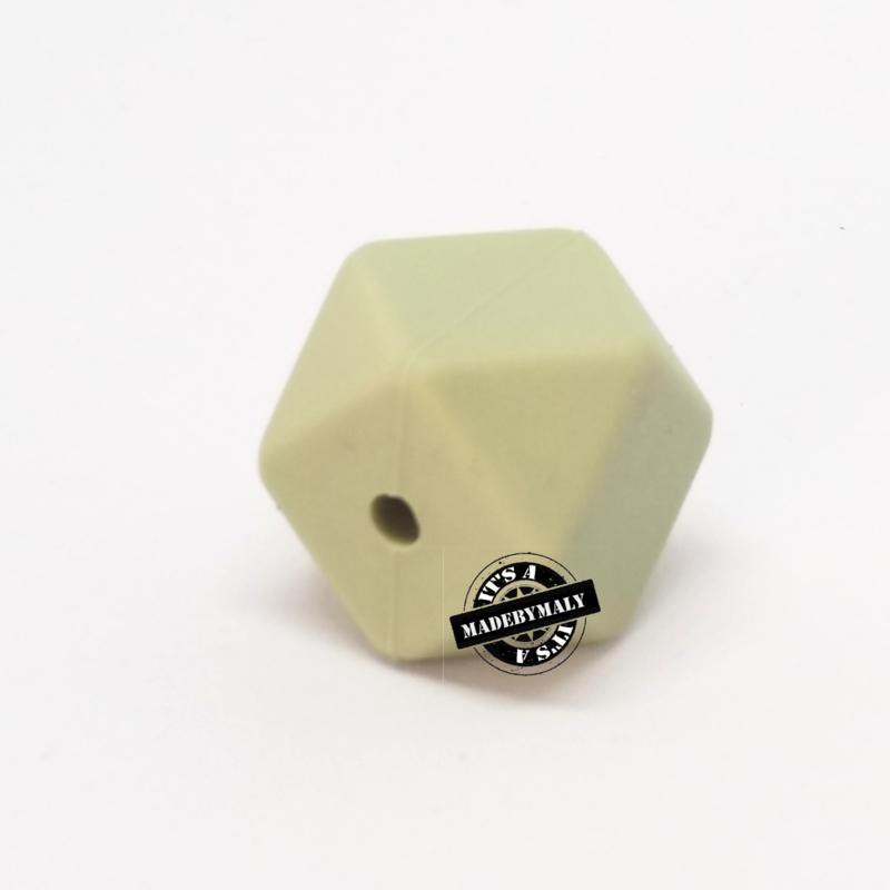 Siliconen hexagon facet kraal 14 mm, kakigroen