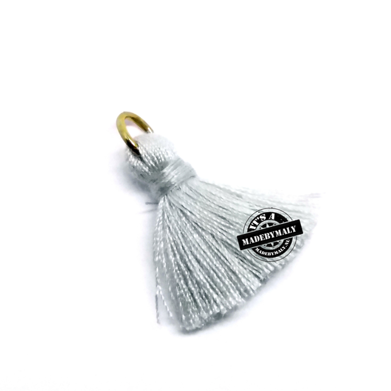 Ibiza style kwastje 2cm Zilver-Licht grijs