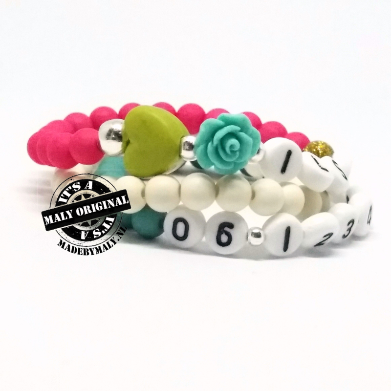 Kinderarmband met bloem en hart, telefoonnummer armband en uni armband. Kies zelf je kleuren